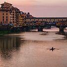 Impressions Of Florence - Ponte Vecchio Rowing In Rose Quartz Pink by Georgia Mizuleva