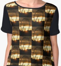 Framing the Sunset in London - the London Eye and Big Ben  Chiffon Top