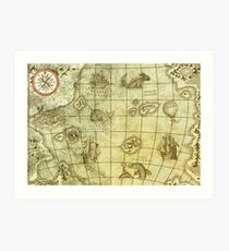 Sea Monsters Map Art Print