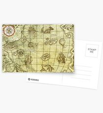 Sea Monsters Map Postcards
