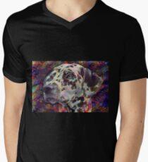 Bunter Dalmatiner T-Shirt mit V-Ausschnitt