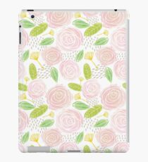 Pink Roses Illustrated Pattern iPad Case/Skin