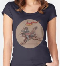 Squirrel in Shining Armor with trusted Bunny Steed  Women's Fitted Scoop T-Shirt
