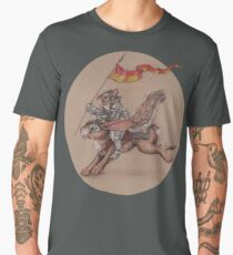 Squirrel in Shining Armor with trusted Bunny Steed  Men's Premium T-Shirt