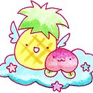 Pineapple and Peach Fruit Angels by SaradaBoru