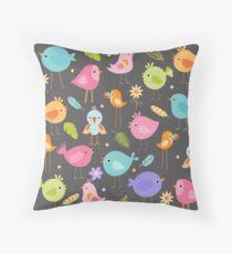 Birds - Gray Throw Pillow