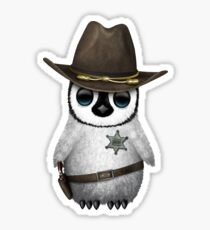 Cute Baby Penguin Sheriff Sticker
