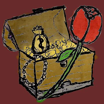 Treasure Chest with a Rose by cephasgarrett