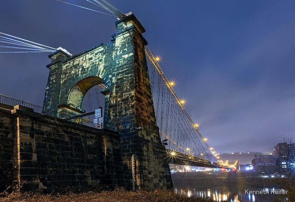 Wheeling Suspension Bridge at Night by Kenneth Keifer