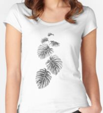 Leaves Black and White Women's Fitted Scoop T-Shirt