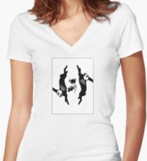 rabbits and roses Women's Fitted V-Neck T-Shirt