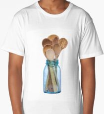 Wooden spoons in a blue canning jar Long T-Shirt