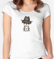 Cute British Bulldog Puppy Sheriff Women's Fitted Scoop T-Shirt