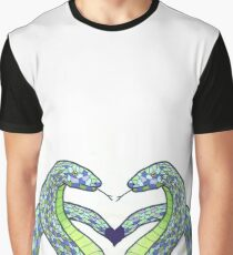Two Blue Snakes Graphic T-Shirt