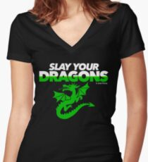 Slay Your Dragons (Green2) Women's Fitted V-Neck T-Shirt