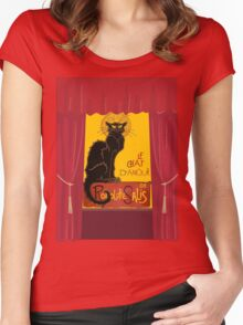 Le Chat D'Amour with Theatrical Curtain Border Women's Fitted Scoop T-Shirt