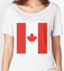 Red and White Canadian Flag Women's Relaxed Fit T-Shirt
