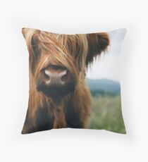 Scottish Highland Cow in Scotland Throw Pillow