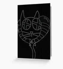 Cat balloon (black version) Greeting Card