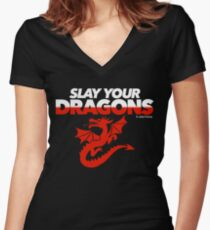 Slay Your Dragons (Red2) Women's Fitted V-Neck T-Shirt