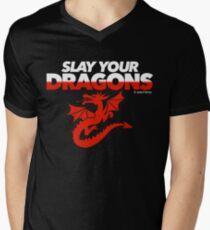 Slay Your Dragons (Red2) Men's V-Neck T-Shirt