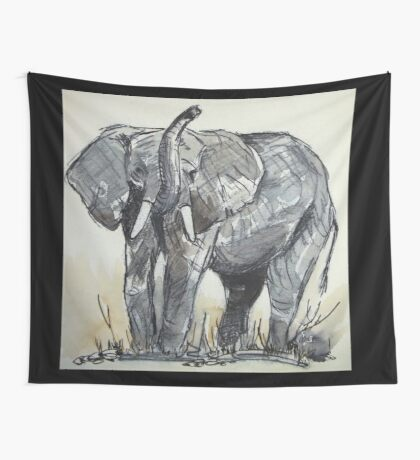 Lodge décor - African Elephant sketch Wall Tapestry