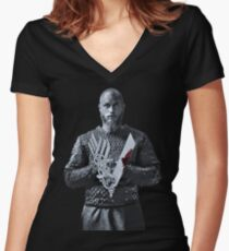 VIKINGS - KING RAGNAR LOTHBROK Women's Fitted V-Neck T-Shirt
