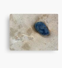 Stone, footprint on beach Canvas Print