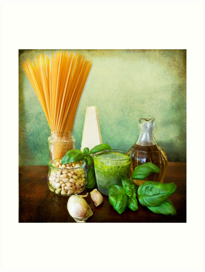 Italian recipe: noodles with pesto (basil,parmisan,garlic,olive oil,pine nuts) by gameover