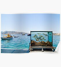 Beautiful Santorini sea view on the see and aquarium Poster
