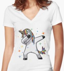 Original Unicorn Dab  Women's Fitted V-Neck T-Shirt