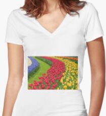 Flower beds of multicolored tulips Women's Fitted V-Neck T-Shirt