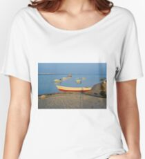 Photo of boats in bay at sunset in Portugal Women's Relaxed Fit T-Shirt