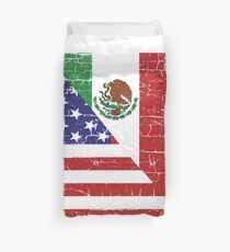 Vintage Mexican American Flag Cool T-Shirt Duvet Cover