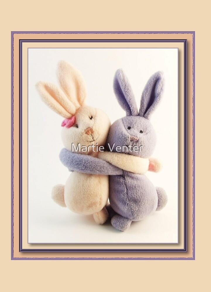 Hugging Bunnies by Martie Venter