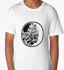 Tiger Silhouette In Tribal Tattoo Style Long T-Shirt