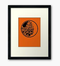 Tiger Silhouette In Tribal Tattoo Style Framed Print