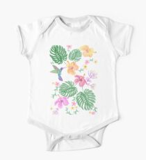 Embroidery bright hummingbirds flying over exotic flowers. Kids Clothes