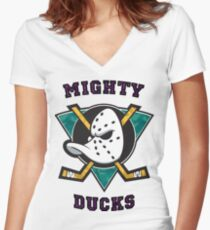mighty ducks Women's Fitted V-Neck T-Shirt