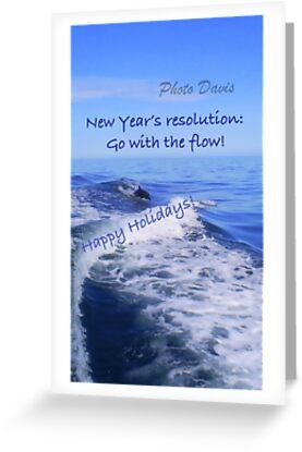 Go with the flow holiday card - dolphin by Gosha Davis