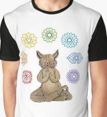 Yoga Cat with Chakras Camiseta gráfica