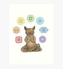 Yoga Cat with Chakras Lámina artística