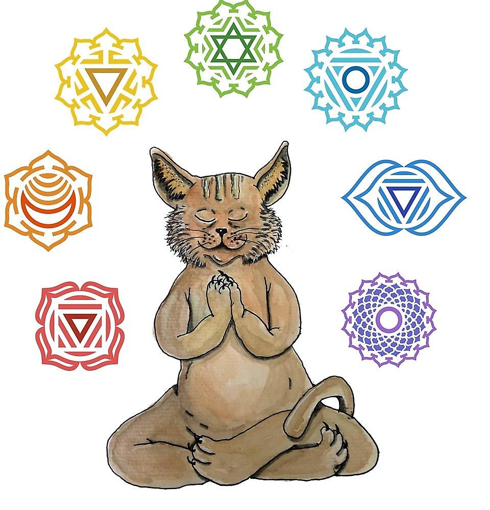 «Yoga Cat with Chakras» de laramaktub