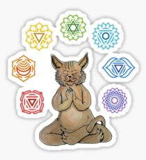 Yoga Cat with Chakras Pegatina