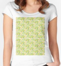 Watercolor Triangles Pattern Green Women's Fitted Scoop T-Shirt