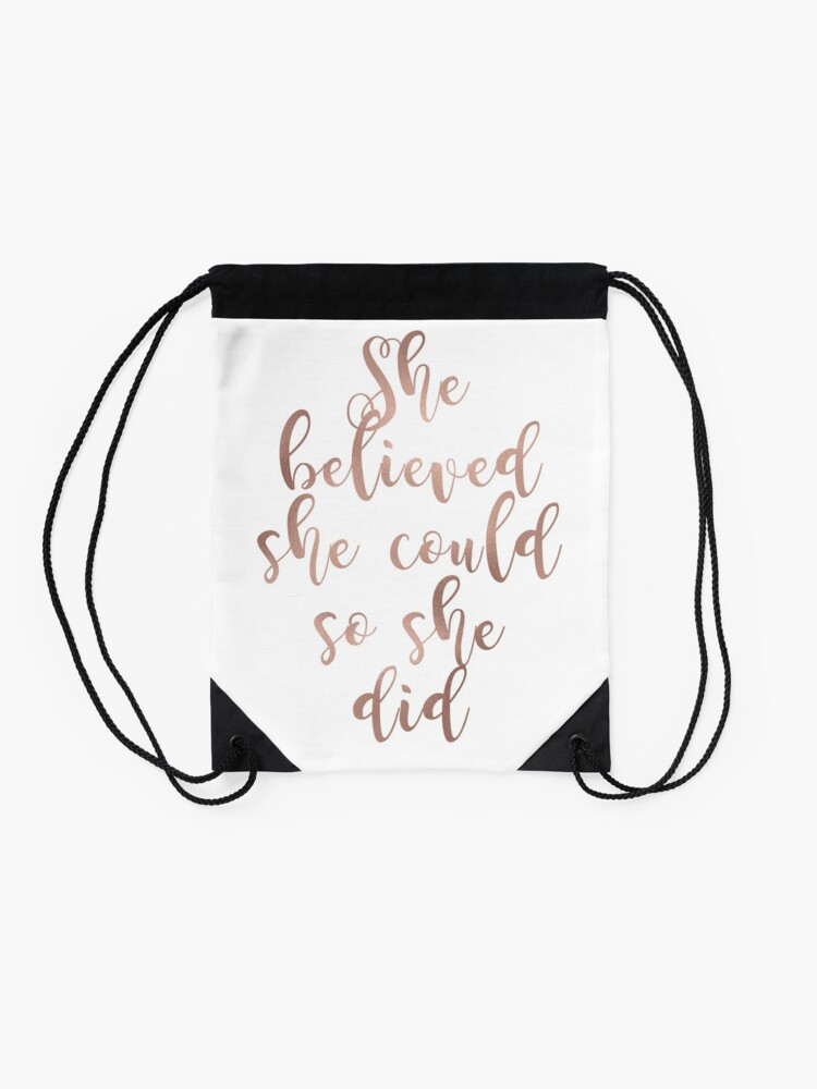 Alternate view of Rose gold she believed she could so she did Drawstring Bag