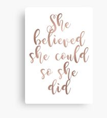 Rose gold she believed she could so she did Canvas Print