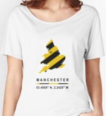 Manchester GPS Bee Map Women's Relaxed Fit T-Shirt