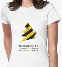 Manchester GPS Bee Map Womens Fitted T-Shirt