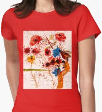FLOWERS ABSTRACT: Trees and Landscape Print Womens Fitted T-Shirt